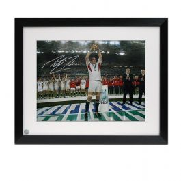 Martin Johnson Signed England Rugby Photo: On The Podium. Framed