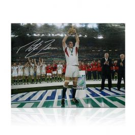 Martin Johnson Signed England Rugby Photo: On The Podium