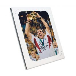 Martin Johnson Signed England Rugby Photo: Lifting The Webb Ellis Trophy. In Gift Box