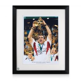 Martin Johnson Signed England Rugby Photo: Lifting The Webb Ellis Trophy.  Framed