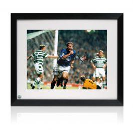 Ally McCoist Signed Rangers Photo: Goal Against Celtic Framed