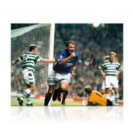 Ally McCoist Signed Rangers Photo: Goal Against Celtic