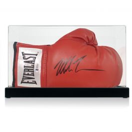 Mike Tyson Signed Red Boxing Glove. In Display Case