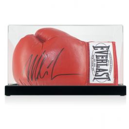 Mike Tyson Signed Red Boxing Glove In Display Case