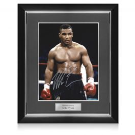 Mike Tyson Signed Boxing Photo: Baddest Man On The Planet. Deluxe Frame