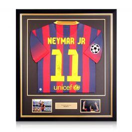 Neymar Jr Signed Barcelona 2013-14 Shirt. Deluxe Frame
