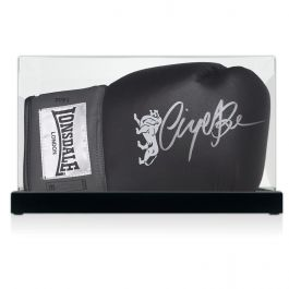 Nigel Benn Signed Black Boxing Glove In Display Case