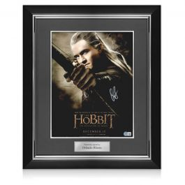 Orlando Bloom Signed The Hobbit Poster. Deluxe Frame