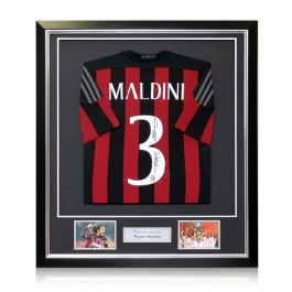 Paolo Maldini Signed AC Milan Football Shirt 2015-16. In Deluxe Frame