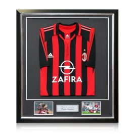 Paolo Maldini Signed AC Milan Football Shirt 2005-06 Player Issue. In Deluxe Frame