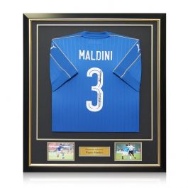 Paolo Maldini Signed 2016-17 Italy Home Shirt In Deluxe Black Frame With Gold Inlay