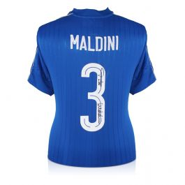 Paolo Maldini Signed 2016-17 Italy Home Shirt