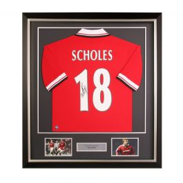 Paul Scholes Signed Manchester United Shirt 1998. Deluxe Frame