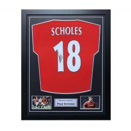 Paul Scholes Signed Manchester United Shirt 1998. Framed