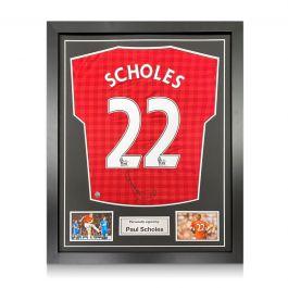Paul Scholes Signed Manchester United Football Shirt. 2012-13. Framed