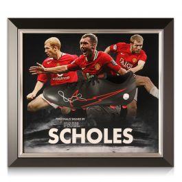 Paul Scholes Signed Football Boot. Framed