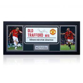 Paul Scholes Signed Manchester United Street Sign. Framed
