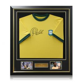 Pele Signed Brazil 1970 Football Shirt Framed