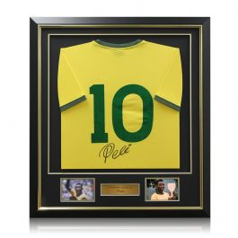 Pele Signed Number 10 Brazil Football Shirt Framed