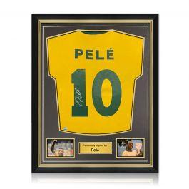 Pele Back Signed Brazil Shirt. Superior Frame