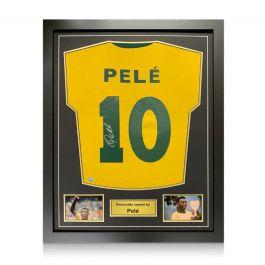 Pele Back Signed Brazil Shirt. Framed