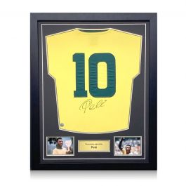 Pele Signed Brazil Football Shirt: Number 10. Standard Frame