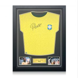 Pele Signed Brazil 1970 Football Shirt. Standard Frame
