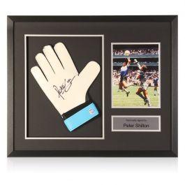 Peter Shilton Signed Glove Hand Of God Presentation. Framed
