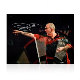 Phil Taylor Signed Darts Photo: At The Oche