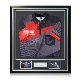 Phil The Power Taylor Signed Darts Shirt 2018. In Deluxe Frame