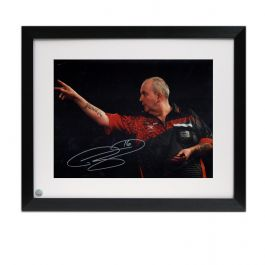 Phil Taylor Signed Darts Photo: 2018 World Darts Championships. Framed