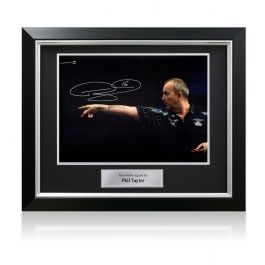 Phil Taylor Signed Darts Photo: Feel The Power. In Deluxe Black Frame With Silver Inlay