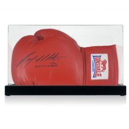 Ricky Hatton Signed Red Boxing Glove In Display Case