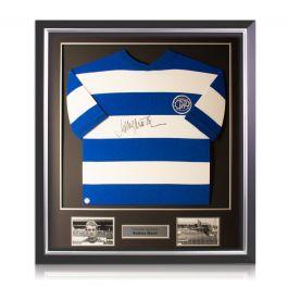 Rodney Marsh Signed Queens Park Rangers Football Shirt. Deluxe Frame