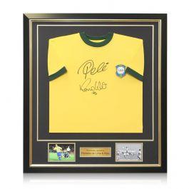 Ronaldo de Lima and Pele Signed Brazil Football Shirt In Deluxe Frame
