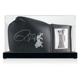 Roy Jones Junior Signed Black Boxing Glove In Display Case