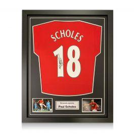 Paul Scholes Signed Manchester United Shirt. Framed
