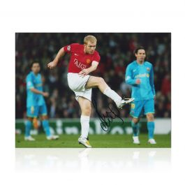 Paul Scholes Signed Manchester United Photo: Barcelona Unstoppable Strike