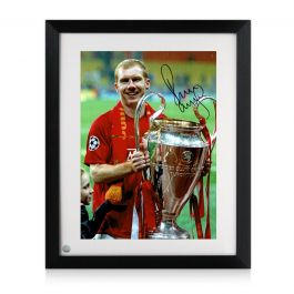 Paul Scholes Signed Manchester United Photograph: Champions League Winner. Framed