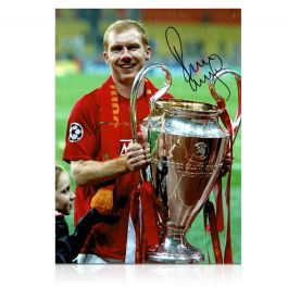 Paul Scholes Signed Manchester United Photograph: Champions League Winner
