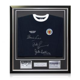 Scotland Shirt Signed by Denis Law, Bobby Lennox And Jim McCalliog In Deluxe Black Frame With Silver Inlay