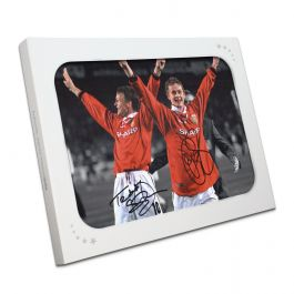 Teddy Sheringham and Ole Gunnar Solskjaer Signed Manchester United Photograph In Gift Box