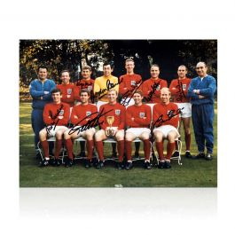 England 1966 World Cup Winners Photo Signed By Eight Of The Team - Damaged Stock