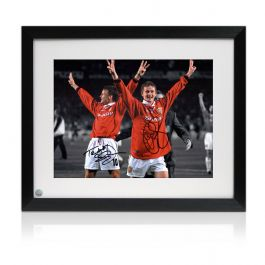 Teddy Sheringham and Ole Gunnar Solskjaer Signed Manchester United Photo. Framed