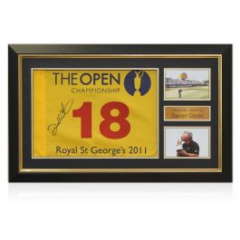 Darren Clarke Signed 2011 Open Pin Flag Framed