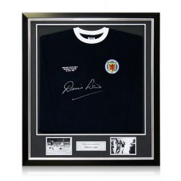 Denis Law Signed Scotland Football Shirt With Wembley 1967 Embroidery. In Deluxe Black Frame With Silver Inlay