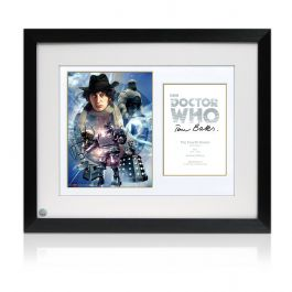 Tom Baker Signed And Framed Dr Who Poster
