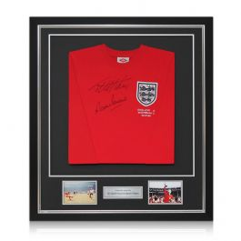 Deluxe Framed Sir Geoff Hurst And Martin Peters Signed England Football Shirt (Silver Inlay)