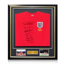 England 1966 World Cup Winning Team Signed Shirt. Framed