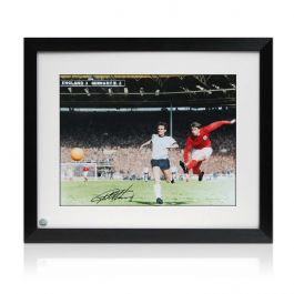 Geoff Hurst Signed England Football Photo: Hat-Trick Goal. Framed
